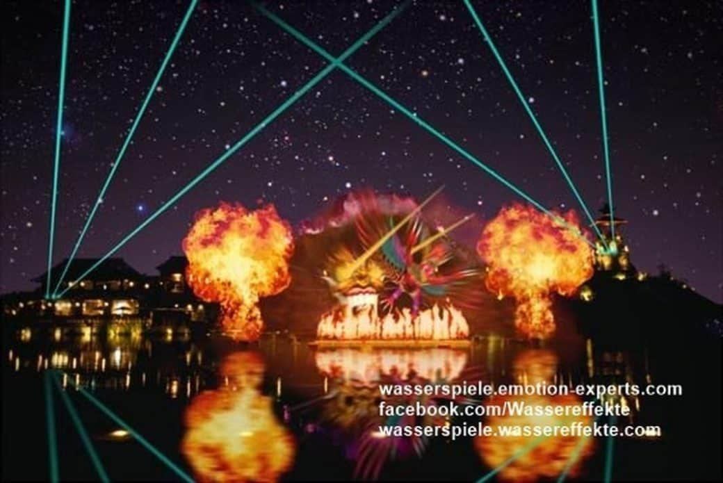 Feuerflammen mit Wassershows und Lasershoweffekten